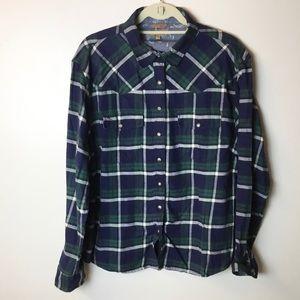 Jachs Girlfriend Snap Front Plaid Flannel Shirt XL